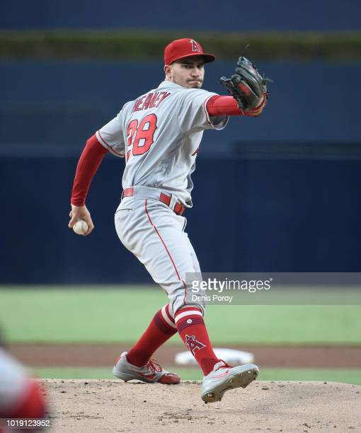 Andrew Heaney of the Los Angeles Angels pitches during the first inning of a baseball game against the San Diego Padres at PETCO Park on August 13...
