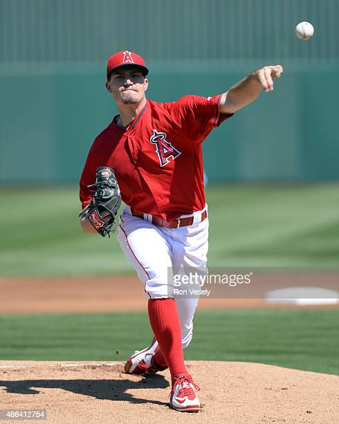 Andrew Heaney of the Los Angeles Angels pitches during the spring training game between the Chicago White Sox and Los Angeles Angels on March 14 2015...