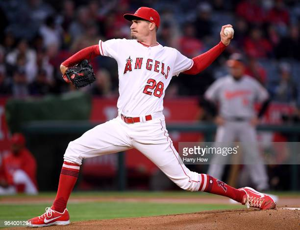Andrew Heaney of the Los Angeles Angels pitches to the Baltimore Orioles during the first inning at Angel Stadium on May 2 2018 in Anaheim California