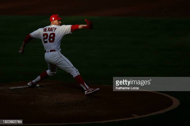 Andrew Heaney of the Los Angeles Angels throws a pitch in the second inning against the Kansas City Royals at Angel Stadium of Anaheim on June 08,...