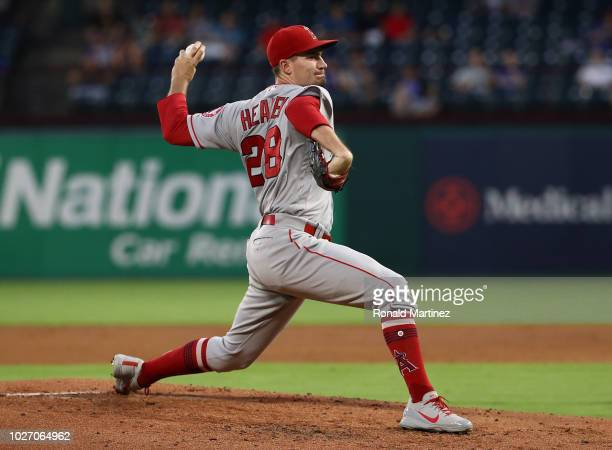 Andrew Heaney of the Los Angeles Angels throws against the Texas Rangers in the second inning at Globe Life Park in Arlington on September 4 2018 in...