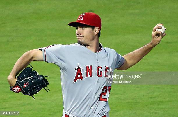 Andrew Heaney of the Los Angeles Angels throws against the Texas Rangers in the first inning at Globe Life Park in Arlington on October 1 2015 in...