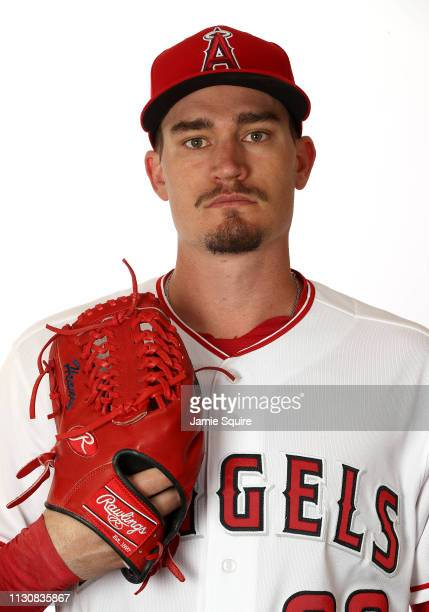 Andrew Heaney poses for a portrait during Los Angeles Angels of Anaheim photo day on February 19 2019 in Tempe Arizona