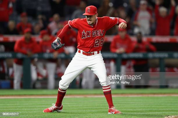 Andrew Heaney reacts after pitching a complete game one hitter defeating the Kansas City Royals 10 at Angel Stadium on June 5 2018 in Anaheim...