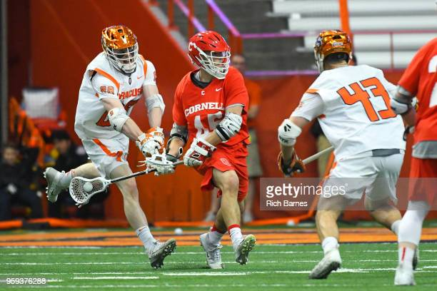 Andrew Helmer of the Syracuse Orange checks the stick of Clarke Petterson of the Cornell Big Red on a shot attempt during a 2018 NCAA Division I...