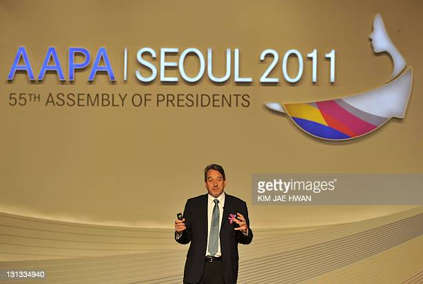 Andrew Herdman director general of the Association of Asia Pacific Airlines speaks at the annual meeting of the 15member group in Seoul on November 3...