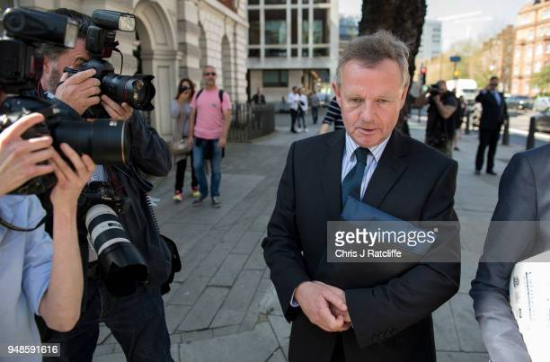 Andrew Hill leaves after an appearance on manslaughter charges at The City of Westminster Magistrates Court on April 19 2018 in London England Andrew...