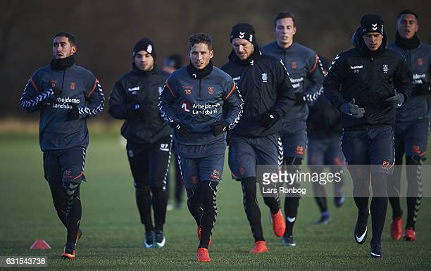 Andrew Hjulsager of Brondby IF leads the Brondby IF warm uo during the Brondby IF training session at Brondby Stadion on January 12 2017 in Brondby...