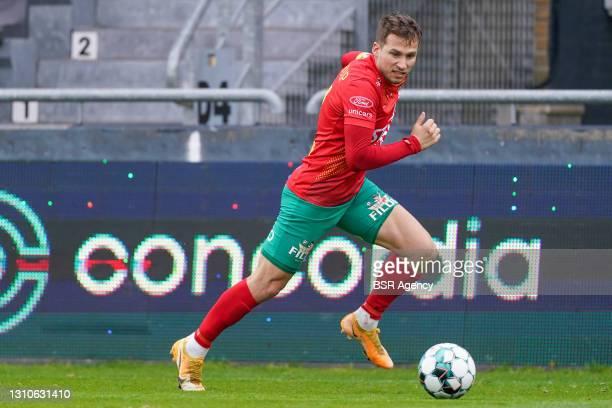 Andrew Hjulsager of KV Oostende during the Jupiler Pro League match between KV Oostende and Waasland-Beveren at Diaz Arena on April 3, 2021 in...