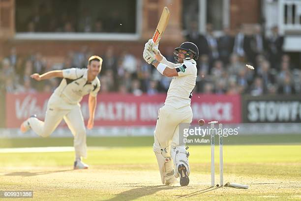 Andrew Hodd of Yorkshire is bowled by Toby RolandJones of Middlesex during day four of the Specsavers County Championship match between Middlesex and...