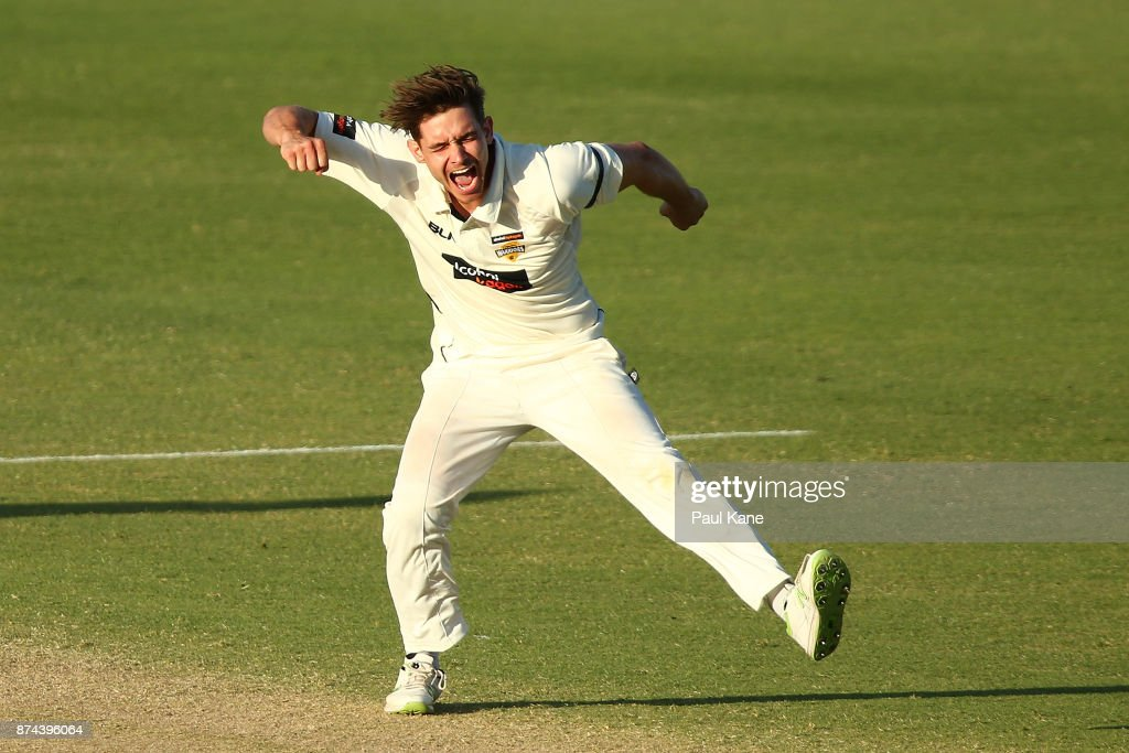 Andrew Holder of Western Australia celebrates the wicket of John Dalton of South Australia during day three of the Sheffield Shield match between Western Australia and South Australia at WACA on November 15, 2017 in Perth, Australia.