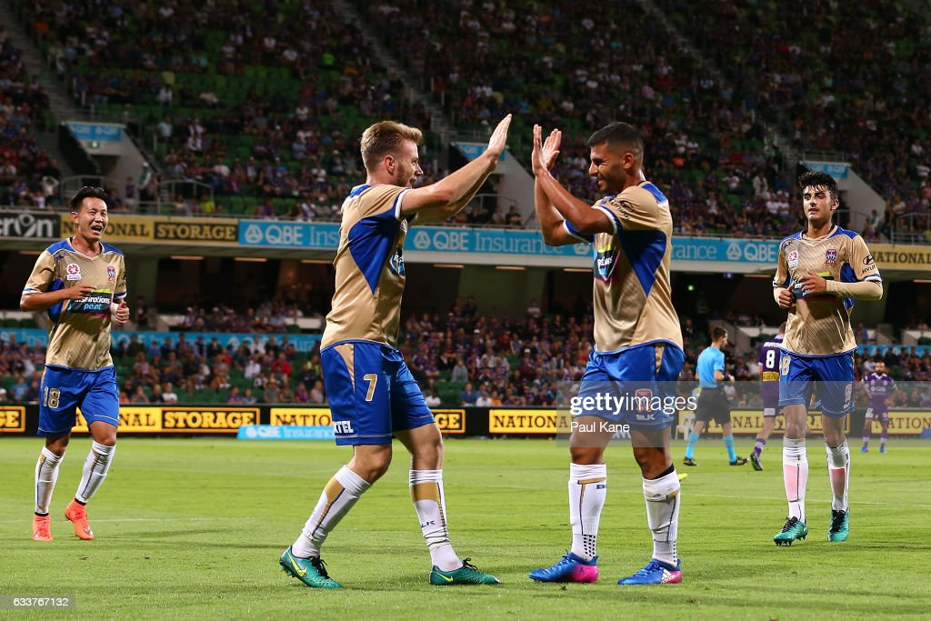 Andrew Hoole and Andrew Nabbout of the Jets celebrate a goal during the round 18 A-League match between the Perth Glory and the Newcastle Jets at nib Stadium on February 4, 2017 in Perth, Australia.