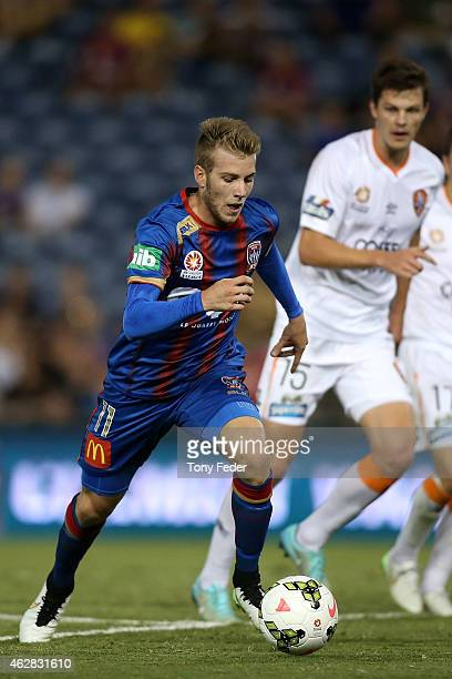 Andrew Hoole of the Jets controls the ball during the round 16 A-League match between the Newcastle Jets and Brisbane Roar at Hunter Stadium on...