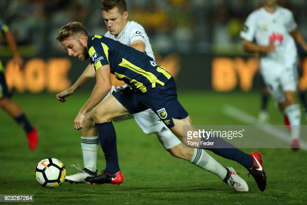 Andrew Hoole of the Mariners controls the ball during the round 21 ALeague match between the Central Coast Mariners and the Wellington Phoenix at...