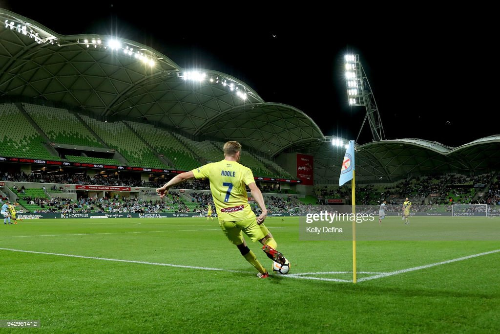 Andrew Hoole of the Mariners kicks the ball during the round 26 A-League match between Melbourne City and the Central Coast Mariners at AAMI Park on April 7, 2018 in Melbourne, Australia.