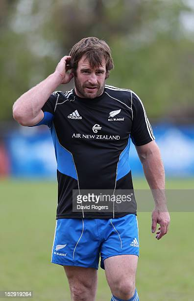 Andrew Hore looks on during the New Zealand All Blacks captain's run at Centro Naval on September 28 2012 in Buenos Aires Argentina
