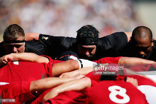 Andrew Hore of New Zealand gets ready to engauge during match fourteen of the Rugby World Cup 2007 between New Zealand and Portugal at the Gerland...