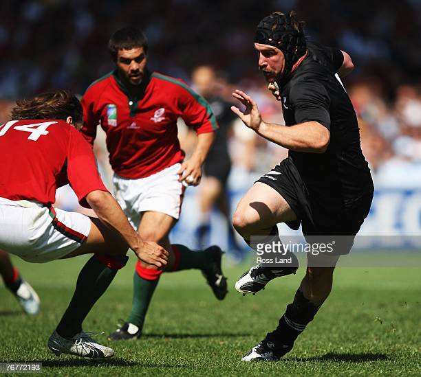 Andrew Hore of New Zealand runs in to score a try during match fourteen of the Rugby World Cup 2007 between New Zealand and Portugal at the Gerland...
