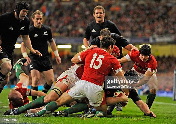 Andrew Hore of New Zealand scores a second half try during the Invesco Perpetual Series Match between Wales and New Zealand at The Millennium Stadium...
