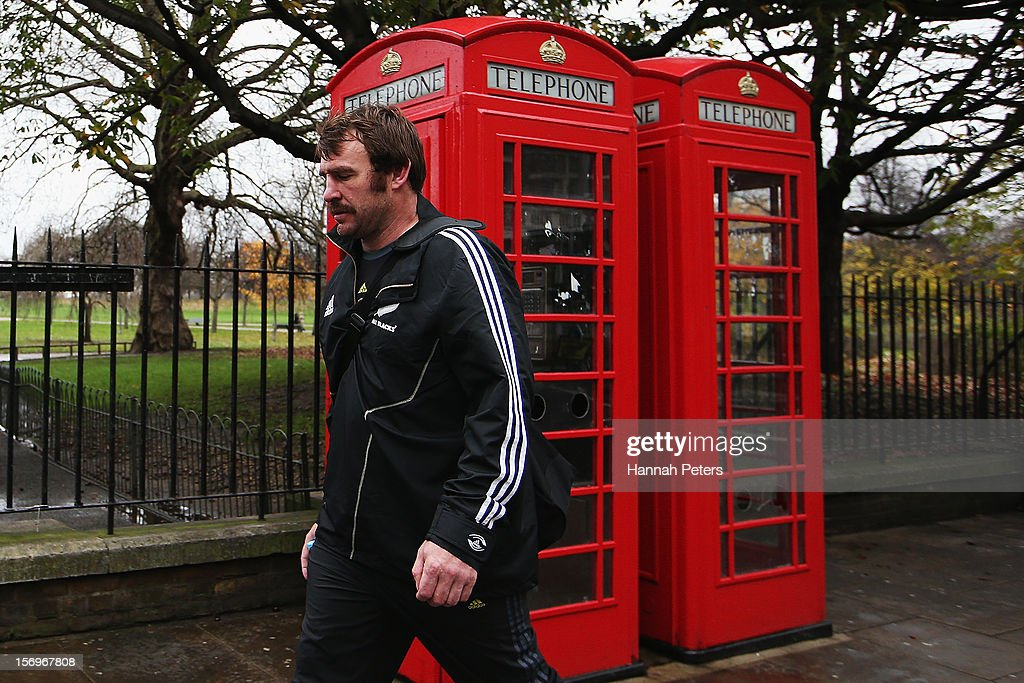 Andrew Hore of the All Blacks returns from a recovery session at the Imperial College on November 26, 2012 in London, England.