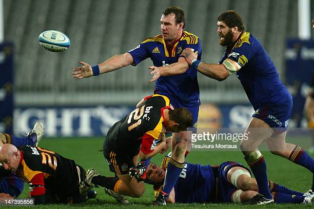 Andrew Hore of the Highlanders passes during the round 16 Super Rugby match between the Highlanders and the Chiefs at Forsyth Barr Stadium on June 29...