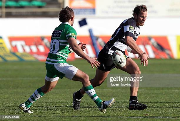 Andrew Horrell of Hawke's Bay knocks the ball on during the round one ITM Cup match between Manawatu and Hawke's Bay at FMG Stadium on July 16 2011...