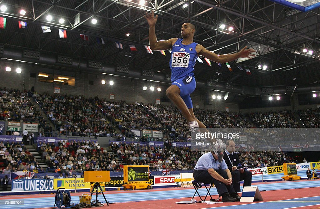 Andrew Howe of Italy competes during the Men's Long Jump Final on day three of the 29th European Athletics Indoor Championships at the National Indoor Arena on March 4, 2007 in Birmingham, England.