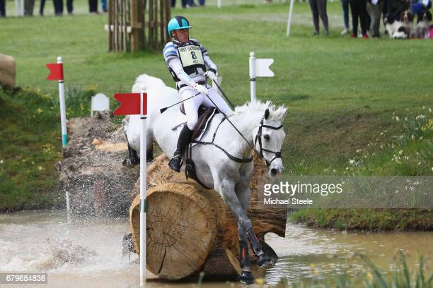 Andrew Hoy of Australia riding The Blue Frontier at fence fifteen during the Cross Country test on day four of Badminton Horse Trials on May 6 2017...