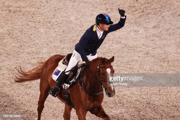 Andrew Hoy of Team Australia riding Vassily de Lassos celebrates after his ride during the Eventing Jumping Team Final and Individual Qualifier on...
