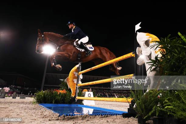 Andrew Hoy of Team Australia riding Vassily de Lassos competes during the Eventing Individual Jumping Final on day ten of the Tokyo 2020 Olympic...