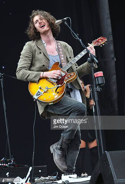 Andrew HozierByrne aka Hozier performs live on the Pyramid stage during the third day of Glastonbury Festival at Worthy Farm Pilton on June 28 2015...