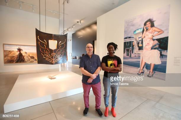 TORONTO ON JUNE 30 Andrew Hunter the AGO's Curator of Canadian Art and Anique Jordan Hunter's cocurator on EveryNowThen Redefining Nationhood pose in...