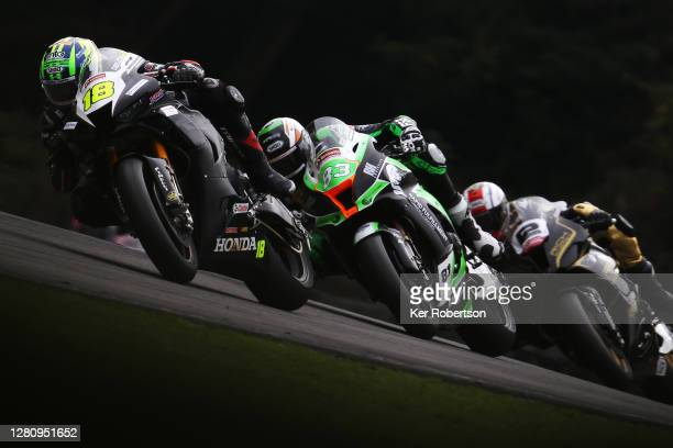 Andrew Irwin of Honda Racing rides during the penultimate round of the Bennetts British Superbike Championship at Brands Hatch on October 18, 2020 in...
