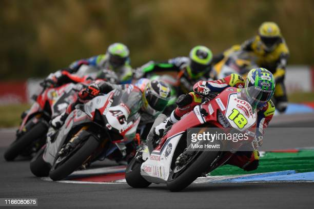 Andrew Irwin of Northern Ireland in action during the British Superbikes Championships at Thruxton Circuit on August 04, 2019 in Andover, England.