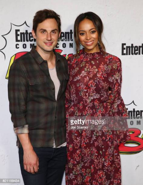 Andrew J West and Amber Stevens West at Entertainment Weekly's annual ComicCon party in celebration of ComicCon 2017 at Float at Hard Rock Hotel San...