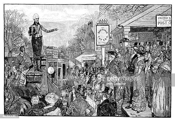 Andrew Jackson 7th president of the USA as Presidentelect delivering a speech from the driver's seat of his coach on his triumphal journey to...