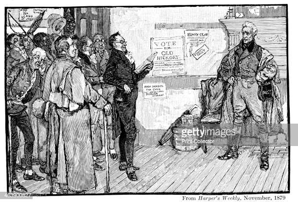 Andrew Jackson 7th president of the USA as Presidentelect receiving a complimentary address from admirers during his journey to Washington From...