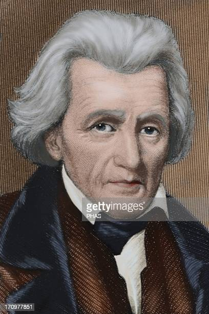 Andrew Jackson American statesman The seventh President of the United States Colored engraving 19th century