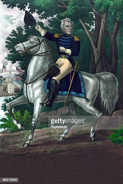 Andrew Jackson fulllength portrait on horseback facing slightly right in uniform holding hat in right hand
