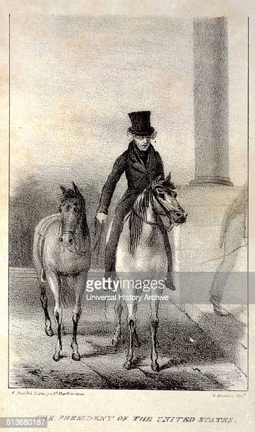 Andrew Jackson on horseback with another horse in tow arriving at the White House Jackson was the seventh President of the United States and served...