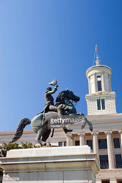 andrew jackson statue in nashville, tennessee - tennessee stock photos and pictures
