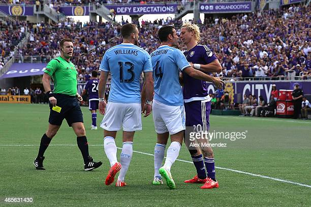 Andrew Jacobson of New York City FC gets into an argument with Brek Shea of Orlando City SC after a hard four during an MLS soccer match between the...