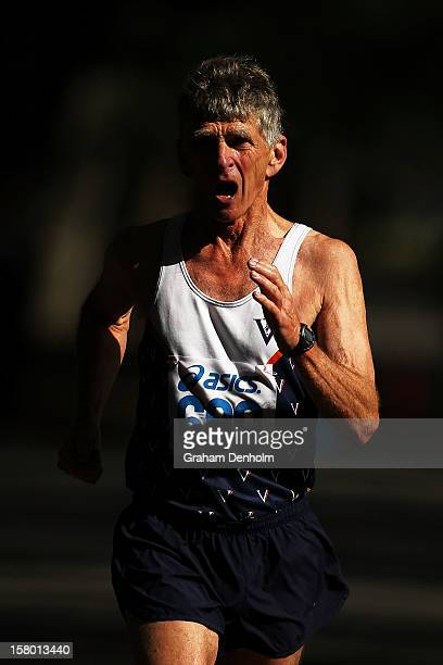 Andrew Jamieson of Victoria competes in the Mens 50000 metre Race Walk Championship Open during the 50km race walking championships at Fawkner Park...