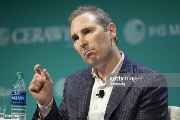 Andrew Jassy, chief executive officer of web services for Amazon.com Inc., speaks during the 2019 CERAWeek by IHS Markit conference in Houston,...