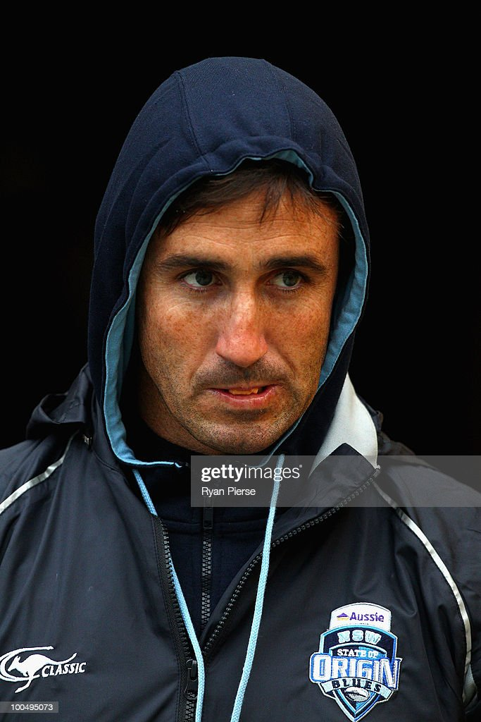 Andrew Johns, assistant coach of the NSW Blues, walks out onto the field during a NSW Blues training session ahead of tomorrow's State Of Origin Game I at ANZ Stadium on May 25, 2010 in Sydney, Australia.