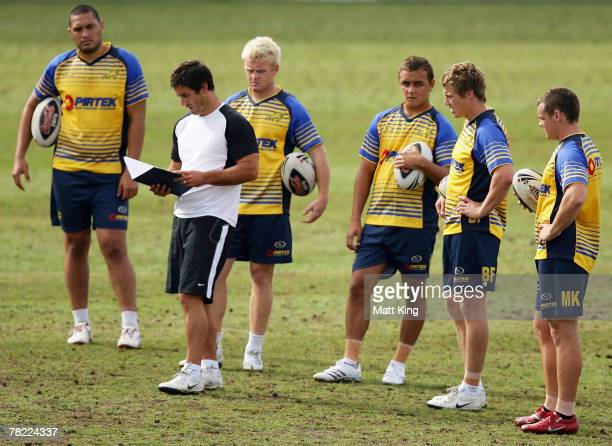 Andrew Johns checks his coaching notes during a Parramatta Eels training session at Parramatta Stadium on December 4, 2007 in Sydney, Australia....
