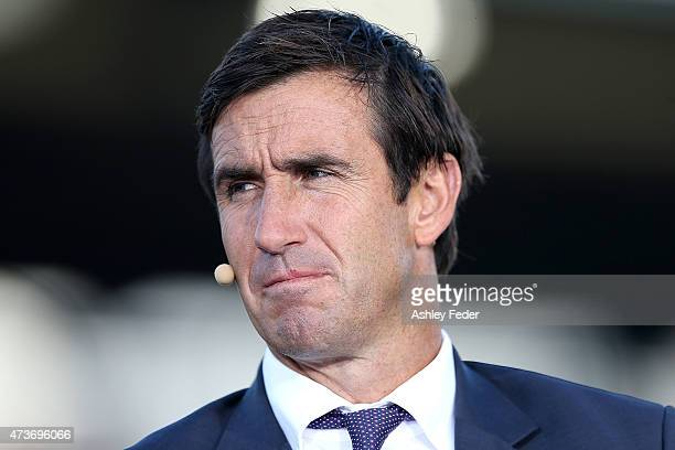 Andrew Johns commentates during the round 10 NRL match between the Newcastle Knights and the Wests Tigers at Hunter Stadium on May 17 2015 in...