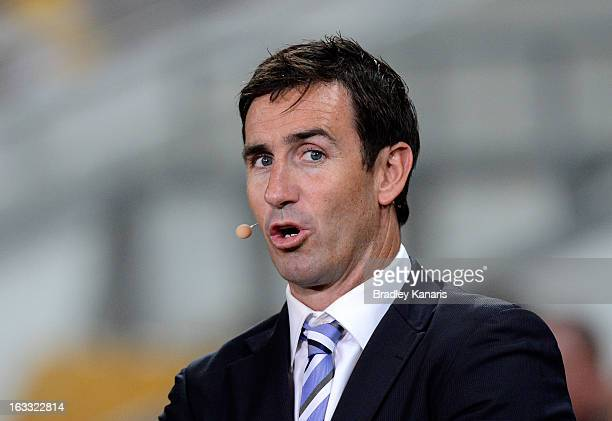 Andrew Johns gets prepared before the round one NRL match between the Brisbane Broncos and the Manly Warringah Sea Eagles at Suncorp Stadium on March...