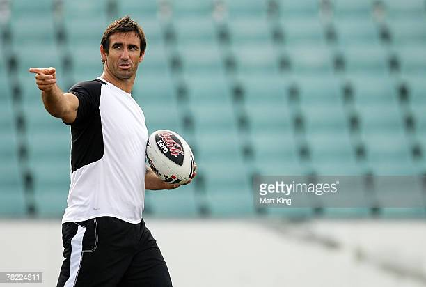 Andrew Johns gives directions during a Parramatta Eels training session at Parramatta Stadium on December 4, 2007 in Sydney, Australia. Johns has...