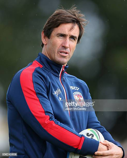 Andrew Johns halves coach of the Roosters watches on during a Sydney Roosters NRL training session at Moore Park on June 1 2016 in Sydney Australia
